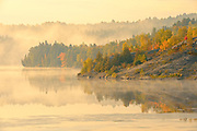 Fog on Simon Lake in autumn. Simon Lake Park Conservation Area. <br /> Naughton<br /> Ontario<br /> Canada