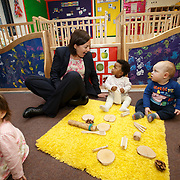 Scottish Labour leader visits nursery. Kezia Dugdale during a visit to Castlemilk Stables nursery in Glasgow to mark the deadline John Swinney set for Scottish councils to meet new funding deal. With children Marabelle O'Hanlon (L), Charis Chaps (C) and Blake McMillan (R). Picture Robert Perry 9th Jan 2016<br /> <br /> Must credit photo to Robert Perry<br /> FEE PAYABLE FOR REPRO USE<br /> FEE PAYABLE FOR ALL INTERNET USE<br /> www.robertperry.co.uk<br /> NB -This image is not to be distributed without the prior consent of the copyright holder.<br /> in using this image you agree to abide by terms and conditions as stated in this caption.<br /> All monies payable to Robert Perry<br /> <br /> (PLEASE DO NOT REMOVE THIS CAPTION)<br /> This image is intended for Editorial use (e.g. news). Any commercial or promotional use requires additional clearance. <br /> Copyright 2014 All rights protected.<br /> first use only<br /> contact details<br /> Robert Perry     <br /> 07702 631 477<br /> robertperryphotos@gmail.com<br /> no internet usage without prior consent.         <br /> Robert Perry reserves the right to pursue unauthorised use of this image . If you violate my intellectual property you may be liable for  damages, loss of income, and profits you derive from the use of this image.