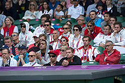 03.08.2012, Wimbledon, London, GBR, Olympia 2012, Tennis, im Bild Eine Delegation von Swiss Olympic verfolgt das Spiel von Roger Federer // during Tennis, at the 2012 Summer Olympics at Wimbledon, London, United Kingdom on 2012/08/03. EXPA Pictures © 2012, PhotoCredit: EXPA/ Freshfocus/ Valeriano Di Domenico..***** ATTENTION - for AUT, SLO, CRO, SRB, BIH only *****