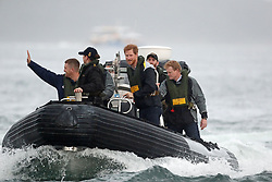 Prince Harry rides in a rib to meet sailors participating in a yacht race in Sydney harbour during a day of events to mark the official launch of the Invictus Games Sydney 2018.