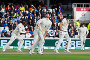 Wicket - Ben Stokes of England celebrates catching Pat Cummins of Australia off the bowling of Jack Leach of England during the International Test Match 2019, fourth test, day two match between England and Australia at Old Trafford, Manchester, England on 5 September 2019.