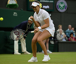 Wimbledon Tennis Championships.<br /> Laura Robson of Great Britain celebrates her win during the singles second round match with Colombian player Mariana Duque Marino at Centre Court on day 5 of The All England Lawn Tennis Club, Wimbledon, United Kingdom<br /> Friday, 28th June 2013<br /> Picture by Andrew Parsons / i-Images