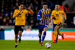 Alex Gilliead of Shrewsbury Town takes on Helder Costa of Wolverhampton Wanderers - Mandatory by-line: Robbie Stephenson/JMP - 05/02/2019 - FOOTBALL - Molineux - Wolverhampton, England - Wolverhampton Wanderers v Shrewsbury Town - Emirates FA Cup fourth round replay