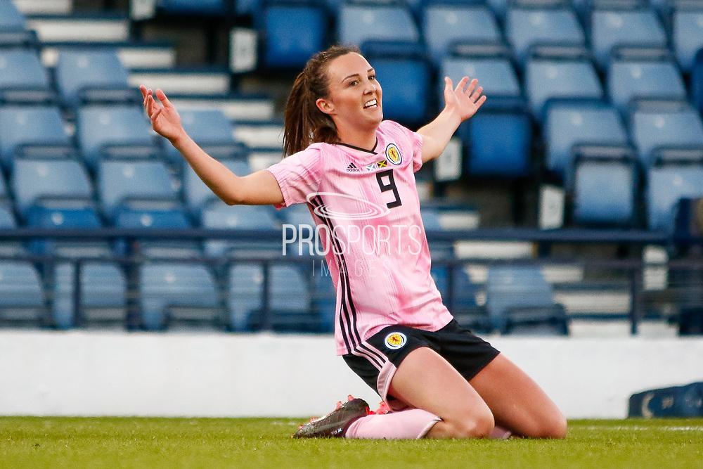 GOAL! Scotlands Caroline WEIR (Manchester City WFC (ENG)) celebrates her goal during the International Friendly match between Scotland Women and Jamaica Women at Hampden Park, Glasgow, United Kingdom on 28 May 2019.