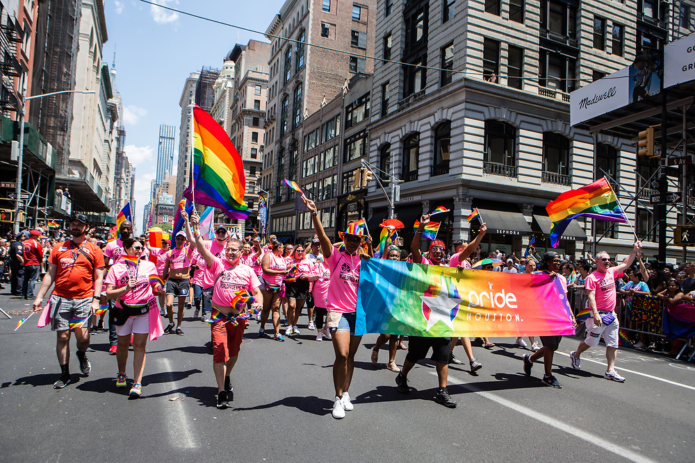 New York, NY - 30 June 2019. The New York City Heritage of Pride March filled Fifth Avenue for hours with participants from the LGBTQ community and it's supporters. Marchers from Pride Houston.
