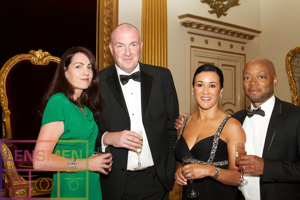 The Ireland-U.S. Council Midsummer Gala Dinner.<br />Friday, June 27, 2014.<br />Venue: Saint Patrick&rsquo;s Hall in Dublin Castle, Dublin, Ireland.<br /><br />Pictured at the Dinner were:<br />Yvonne Gilroy from Dalkia.<br />Patrick Gilroy from Dalkia.<br />Shenda Anyaegbunam fromDalkia.<br />Charles Anyaegbunam from Dalkia.