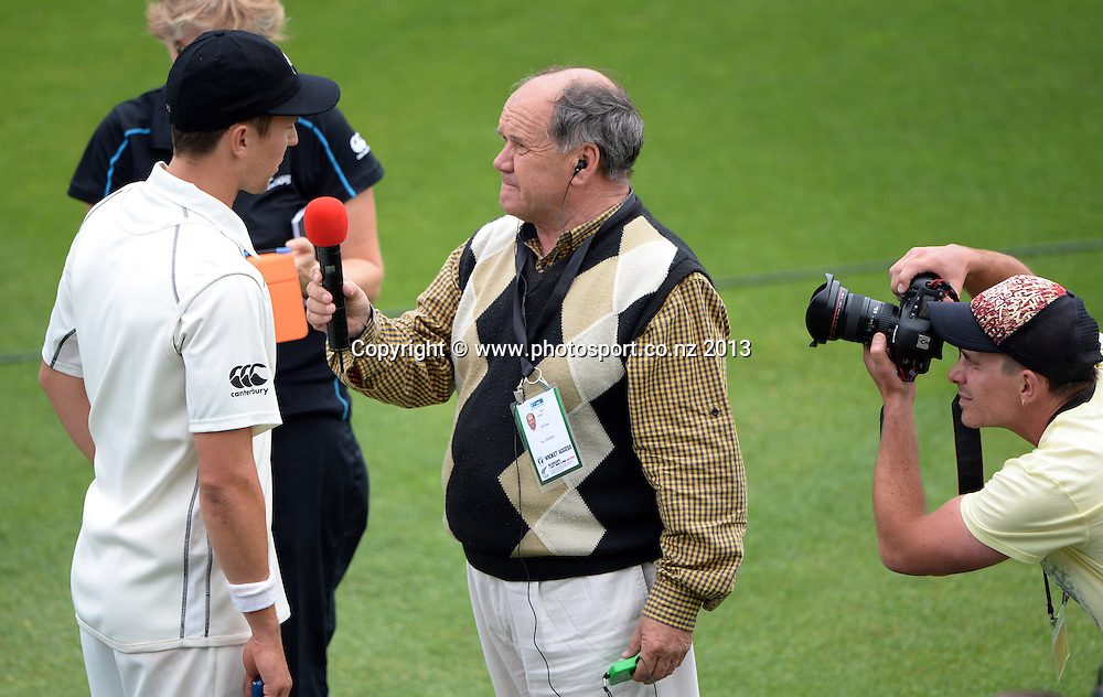 Trent Boult talks to Bryan Waddle on Day 3 of the 2nd cricket test match of the ANZ Test Series. New Zealand Black Caps v West Indies at The Basin Reserve in Wellington. Friday 13 December 2013. Mandatory Photo Credit: Andrew Cornaga www.Photosport.co.nz