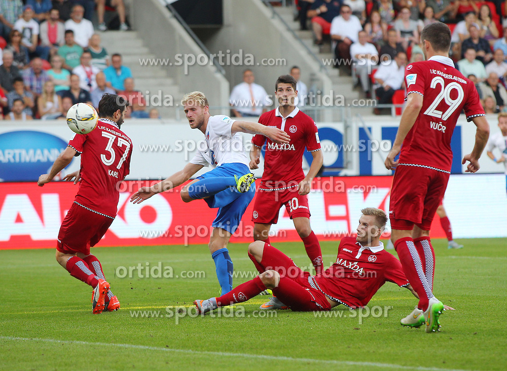 28.08.2015, Voith Arena, Heidenheim, GER, 2. FBL, 1. FC Heidenheim vs 1. FC Kaiserslautern, 5. Runde, im Bild Links Markus Karl ( 1.FC Kaiserslautern ) Sebastian Griesbeck (1.FC Heidenheim) am Boden Kacper Przybylko ( 1.FC Kaiserslautern ) // during the 2nd German Bundesliga 5th round match between 1. FC Union Berlin and RB Leipzig at the Voith Arena in Heidenheim, Germany on 2015/08/28. EXPA Pictures &copy; 2015, PhotoCredit: EXPA/ Eibner-Pressefoto/ Langer<br /> <br /> *****ATTENTION - OUT of GER*****