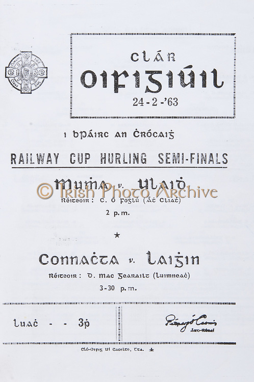 Interprovincial Railway Cup Hurling Semi-Final Programme.Croke Park..Munster v Ulster.Connaught v Leinster ..24.02.1963  24/02/1963  February 24 1963
