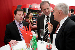 Ales Zavrl, President of Slovenian football federation Ivan Simic and Franc Kopatin at VIP reception of FIFA World Cup Trophy Tour by Coca-Cola, on March 29, 2010, in BTC City, Ljubljana, Slovenia.  (Photo by Vid Ponikvar / Sportida)