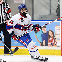 TORONTO, ON - Mar 31 : Ontario Junior Hockey League, Toronto Patriots v Toronto Jr. Canadiens, SouthWest Championship Series, Game 3. Ryan MacSpayden #16 of the Toronto Jr. Canadiens during the second period.<br /> (photo by Jay Johnston / OJHL Images)
