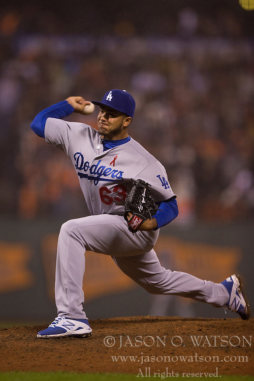 SAN FRANCISCO, CA - MAY 20:  Yimi Garcia #63 of the Los Angeles Dodgers pitches against the San Francisco Giants during the seventh inning at AT&T Park on May 20, 2015 in San Francisco, California.  (Photo by Jason O. Watson/Getty Images) *** Local Caption *** Yimi Garcia