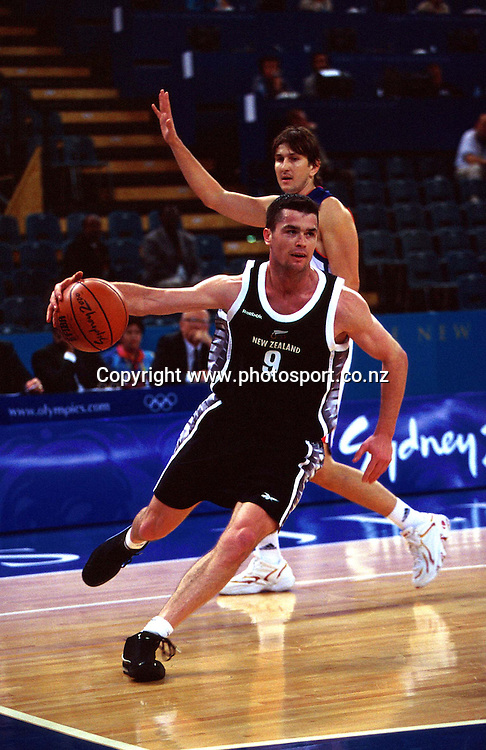 Brad Riley during the Men's basketball match between the New Zealand Tall Blacks and France at the Olympics in Sydney, Australia on 17 September, 2000. Photo: PHOTOSPORT<br /><br /><br /><br /><br />170900 *** Local Caption ***