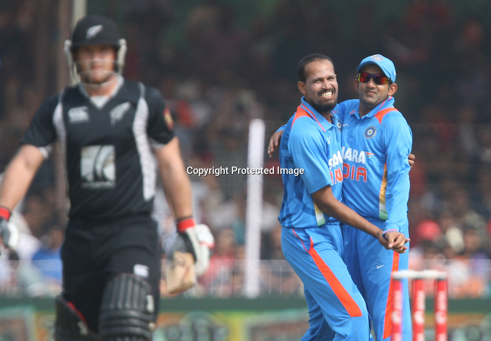 Indian bowler Yusuf Pathan celebrates after taken New Zealand batsman Gareth Hopkins wicket during the India vs New Zealand Played at Reliance Stadium, Vadodara, 4 December 2010 (50-over match)