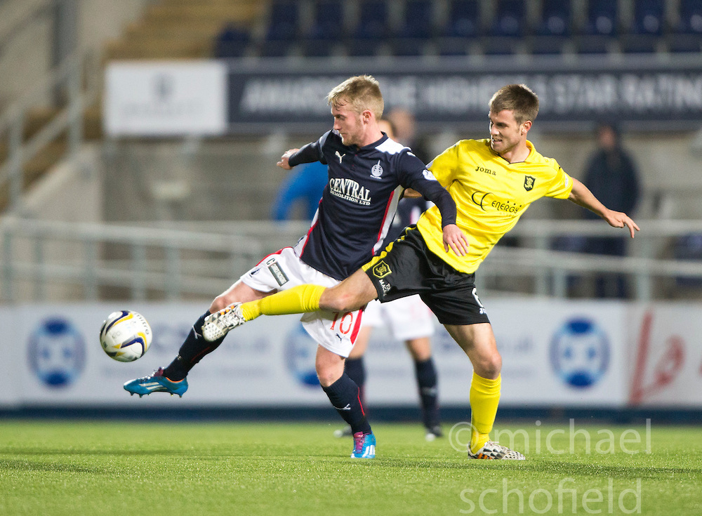 Falkirk's Craig Sibbald and  Livingston Kyle Jacobs.<br /> Falkirk 0 v 0  Livingston, Scottish Championship game played 21/10/2014 at The Falkirk Stadium.