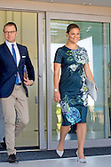 21-10-2015 CARTAGENA COLOMBIA  Prince Daniel and Princess Victoria visit the Swedish panel at the conference of the Caribbean shipping association. Prince Daniel and Princess victoria during a 2 day visit to peru and 3 days visit to Colombia . COPYRIGHT ROBIN UTRECHT