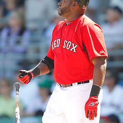 February 28, 2011; Fort Myers, FL, USA; Boston Red Sox first baseman David Ortiz (34) drops his bat after hitting a homerun during a spring training exhibition game against the Minnesota Twins at City of Palms Park.  Mandatory Credit: Derick E. Hingle