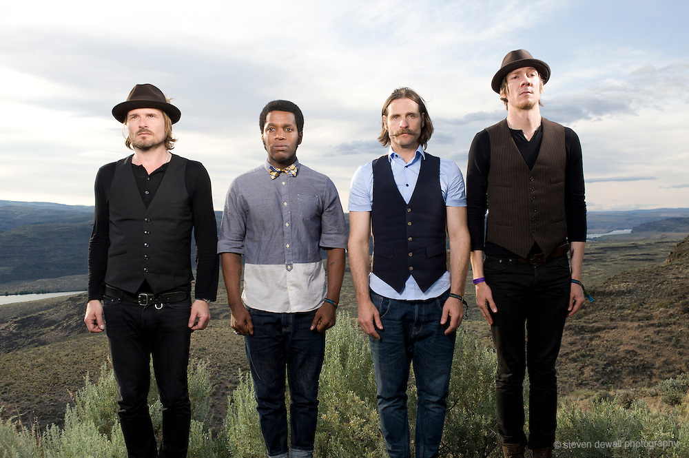 George, WA. - May 28th, 2012 (From left) Nalle Colt, Ty Taylor, Richard Danielson and Rick Barrio of Vintage Trouble pose for a portrait backstage at the Sasquatch Music Festival in George, WA. United States