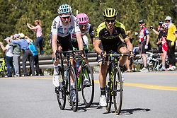 May 18, 2018 - Nevada, U.S - A trio of riders approach Daggett Summitt, 7334 ft, along Kingsbury Grade Rd., Nevada, near South Lake Tahoe, during Stage 6 of Amgen Tour of California on Friday, May 18, 2018. (Credit Image: © Tracy Barbutes via ZUMA Wire)