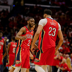 May 4, 2018; New Orleans, LA, USA; New Orleans Pelicans forward Anthony Davis (23) celebrates with guard Ian Clark (2) after scoring during the third quarter in game three of the second round of the 2018 NBA Playoffs at Smoothie King Center. Mandatory Credit: Derick E. Hingle-USA TODAY Sports