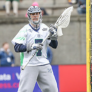 Tyler Fiorito #7 of the Chesapeake Bayhawks is seen in goal during the game at Harvard Stadium on April 27, 2014 in Boston, Massachusetts. (Photo by Elan Kawesch)