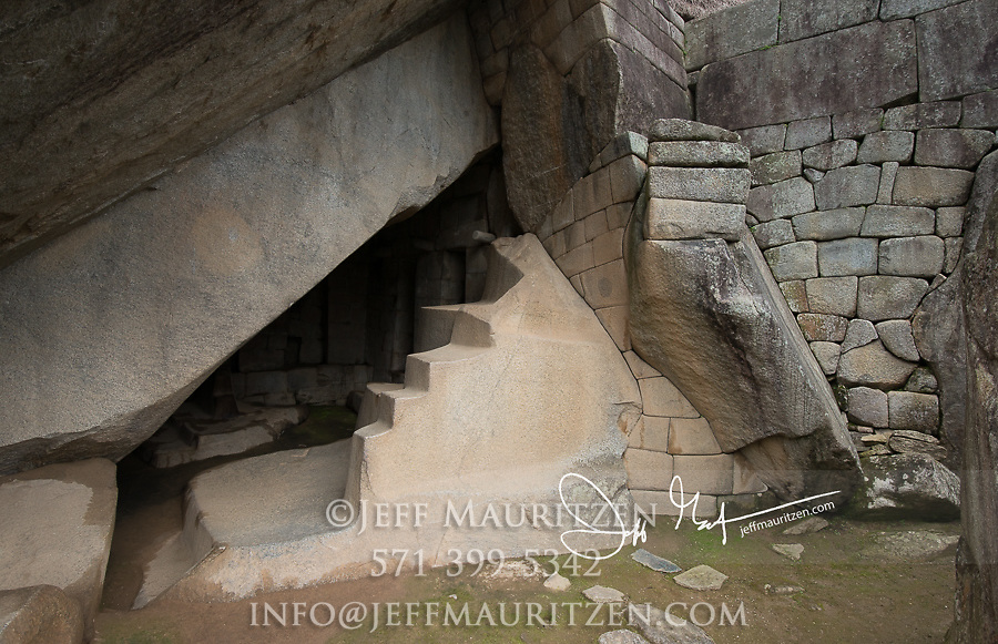 Stone steps and wall built by the Inca at Machu Picchu.