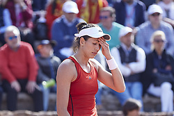 April 21, 2018 - La Manga, Murcia, Spain - Garbine Muguruza of Spain reacts in her match against Montserrat Gonzalez of Paraguay during day one of the Fedcup World Group II Play-offs match between Spain and Paraguay at Centro de Tenis La Manga Club on April 21, 2018 in La Manga, Spain  (Credit Image: © David Aliaga/NurPhoto via ZUMA Press)