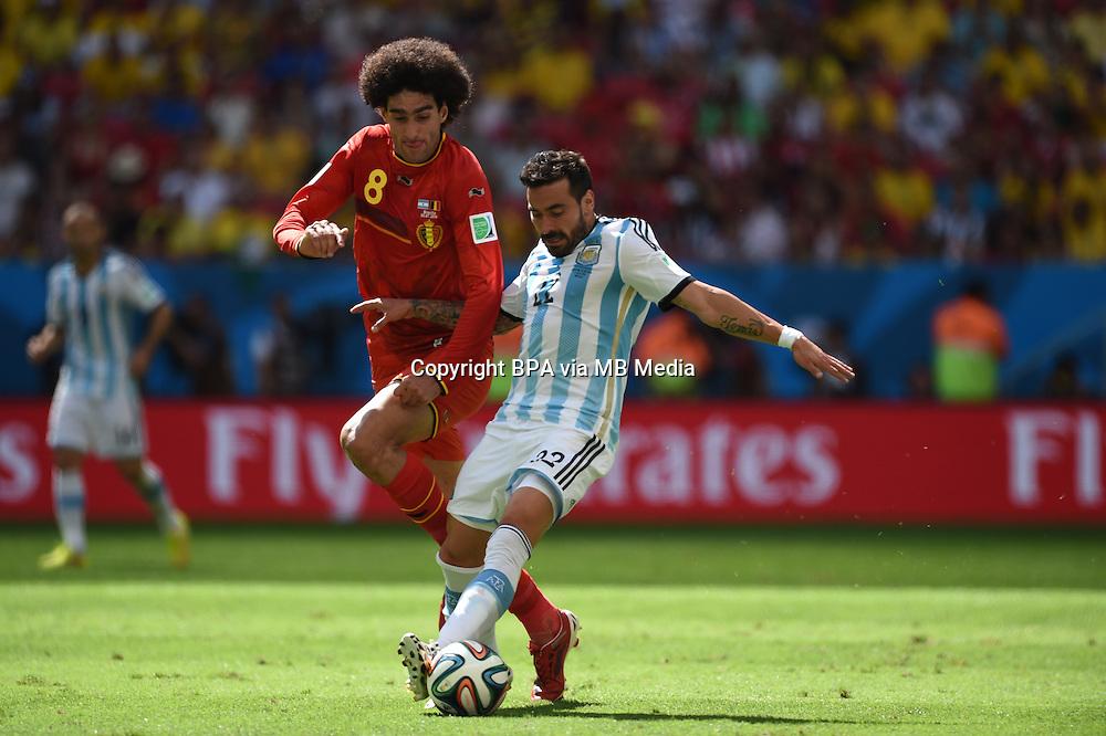 Ezequiel Lavezzi and Marouane Fellaini. Argentina v Belgium, quarter-final. FIFA World Cup 2014 Brazil. National stadium, Brasilia. 05 July 2014