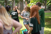 Halle Andrews participates in an ice breaking exercise at Bobcat Student Orientation. Photo by Ben Siegel