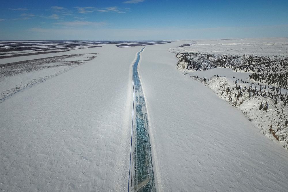 The Tuktoyaktuk ice road stretches down the Mackenzie Delta.