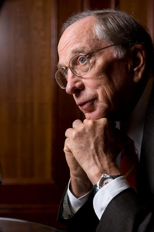 """2008, BERLIN/GERMANY:<br /> Samuel Augustus """"Sam"""" Nunn, US-amerikanischer Geschäftsmann und Politiker der Demokraten, ehem. Senator im US-Senat, waehrend einem Interview, Hotel Adlon<br /> IMAGE: 20080612-01-001"""