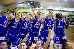 Team of Celje Tjasa Muhovic, Anja Klavzar, Lea Jagodic, Ivona Matic, Kristina Verbole and Nikya Hughes celebrate with the Cup at finals match of Slovenian 1st Women league between KK Hit Kranjska Gora and ZKK Merkur Celje, on May 14, 2009, in Arena Vitranc, Kranjska Gora, Slovenia. Merkur Celje won the third time and became Slovenian National Champion. (Photo by Vid Ponikvar / Sportida)