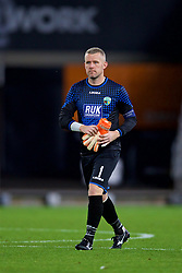 CARDIFF, WALES - Thursday, August 9, 2018: The New Saints FC's goalkeeper Paul Harrison looks dejected after his side's 2-0 defeat during the UEFA Europa League Third Qualifying Round 1st Leg match between The New Saints FC and FC Midtjylland at Cardiff City Stadium. (Pic by David Rawcliffe/Propaganda)