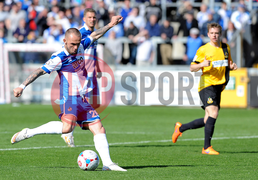 Bristol Rovers' Adam Dawson  gets a shot away - Photo mandatory by-line: Neil Brookman/JMP - Mobile: 07966 386802 - 11/04/2015 - SPORT - Football - Bristol - Memorial Stadium - Bristol Rovers v Southport - Vanarama Football Conference