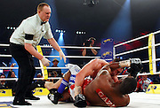 Ukrainian boxer Vitali Klitschko and challenger Juan Carlos Gomez of Cuba wrestle on the floor in their WBC heavyweight title fight on March 21, 2009 at the Hanns-Martin-Schleyer-Halle in Stuttgart, southern Germany.