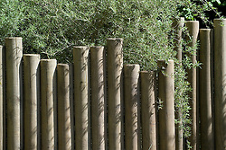 Wooden posts used as fence. Beyond the Pale Garden. Design: Stephen Firth and Brinsbury students - Chelsea 2005