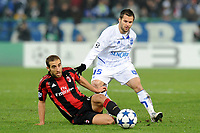 FOOTBALL - CHAMPIONS LEAGUE 2010/2011 - GROUP STAGE - GROUP G - AJ AUXERRE v MILAN AC - 23/11/2010 - PHOTO JEAN MARIE HERVIO / DPPI - FREDERIC SAMMARITANO (AJA) / MATHIEU FLAMINI (MIL)