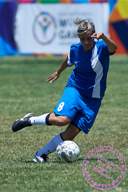 SO Greece athlete controls the ball while football women match 7-a-side during fourth day of the Special Olympics World Games Los Angeles 2015 on July 28, 2015 at Balboa Sports Centre in Los Angeles, USA.<br /> USA, Los Angeles, July 28, 2015<br /> <br /> Picture also available in RAW (NEF) or TIFF format on special request.<br /> <br /> For editorial use only. Any commercial or promotional use requires permission.<br /> <br /> Adam Nurkiewicz declares that he has no rights to the image of people at the photographs of his authorship.<br /> <br /> Mandatory credit:<br /> Photo by &copy; Adam Nurkiewicz / Mediasport