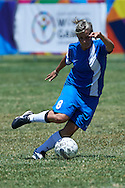 SO Greece athlete controls the ball while football women match 7-a-side during fourth day of the Special Olympics World Games Los Angeles 2015 on July 28, 2015 at Balboa Sports Centre in Los Angeles, USA.<br /> USA, Los Angeles, July 28, 2015<br /> <br /> Picture also available in RAW (NEF) or TIFF format on special request.<br /> <br /> For editorial use only. Any commercial or promotional use requires permission.<br /> <br /> Adam Nurkiewicz declares that he has no rights to the image of people at the photographs of his authorship.<br /> <br /> Mandatory credit:<br /> Photo by © Adam Nurkiewicz / Mediasport