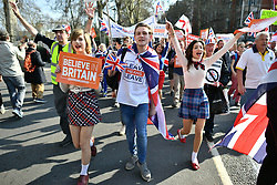 © Licensed to London News Pictures. 29/03/2019. London, UK. March for Leave arrives at parliament as it completes it's final leg of a mass walk from Sunderland. MPs will later vote on the withdrawal agreement, which sets out the terms of the UK's departure from the EU. Photo credit: Ben Cawthra/LNP