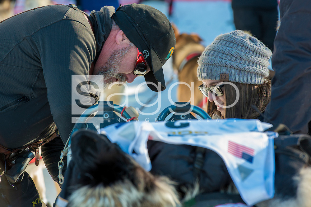 "Scott Janssen, the ""Mushing Mortician,"" prepares for the the re-start in Willow, Alaska on Sunday, March 6th during the 2016 Iditarod race."