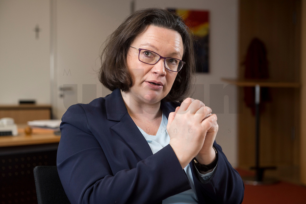15 MAR 2018, BERLIN/GERMANY:<br /> Andrea Nahles, SPD Fraktionsvorsitzende, waehrend einem Interview, in ihrem Buero, Jakob-Kaiser-Haus, Deutscher Bundestag<br /> IMAGE: 20180315-01-014<br /> KEYWORDS: Büro