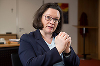 15 MAR 2018, BERLIN/GERMANY:<br /> Andrea Nahles, SPD Fraktionsvorsitzende, waehrend einem Interview, in ihrem Buero, Jakob-Kaiser-Haus, Deutscher Bundestag<br /> IMAGE: 20180315-01-014<br /> KEYWORDS: B&uuml;ro