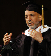 Omaha Neb, 5/25/05  Afghanistan President Hamid Karzai  gives a speech at the University of Nebraska at Omaha Wednesday evening. (Chris Machian)