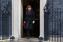 London, UK. 28 January, 2020. Baroness Nicky Morgan, Secretary of State for Digital, Culture, Media and Sport, leaves 10 Downing Street following a National Security Council meeting convened to finalise the role of Chinese multinational technology company Huawei in the construction of the UK's 5G digital network.