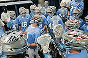 05/25/2014 - Baltimore, Md. - Nate Marchand, A14, pumps up his teammates in the locker room before taking the field in Tufts' 12-9 win over Salisbury to win the NCAA Division III Men's Lacrosse National Championship game at M&T Bank Stadium on May 25, 2014. (Kelvin Ma/Tufts University)