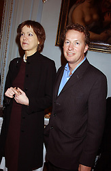 ELIZABETH CECIL and ORLANDO FRASER at a party to celebrate the publication of 'Princesses' the six daughters of George 111 by Flora Fraser held at the Saville Club, Brook Street, London W1 on 14th September 2004.<br />
