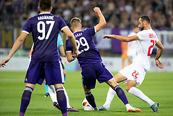 Jan Mlakar of NK Maribor and Labinot Ibrahimi of FK Partizani Tirana during 2nd Leg football match between NK Maribor and FK Partizani Tirana in 1st Qualifying Round of UEFA Europa League 2018/18, on July 19, 2018 in Ljudski vrt, Maribor, Slovenia. Photo by Urban Urbanc / Sportida