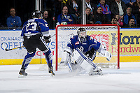 KELOWNA, CANADA - JANUARY 2: Coleman Vollrath #35 of the Victoria Royals defends the net at the Kelowna Rockets on January 2, 2013 at Prospera Place in Kelowna, British Columbia, Canada (Photo by Marissa Baecker/Shoot the Breeze) *** Local Caption ***