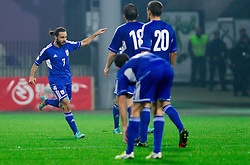 Efstathios Aloneftis of Cymprus celebrates during football match between National teams of Slovenia and Cyprus in 3rd Round of Group E of FIFA World Cup 2014 Qualification on October 12, 2012 in Stadium Ljudski vrt, Maribor, Slovenia. Slovenia defeated Cyprus 2-1. (Photo By Vid Ponikvar / Sportida)